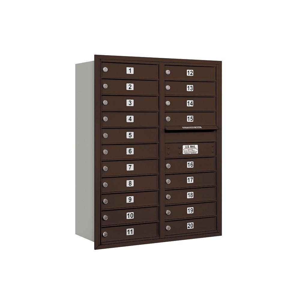 3700 Series 41 in. 11 Door High Unit Bronze Private Rear Loading Bronze 4C Horizontal Mailbox with 20 MB1 Doors