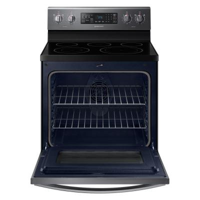 30 in. 5.9 cu. ft. Single Oven Electric Range with Air Fry, True Convection in Black Stainless Steel