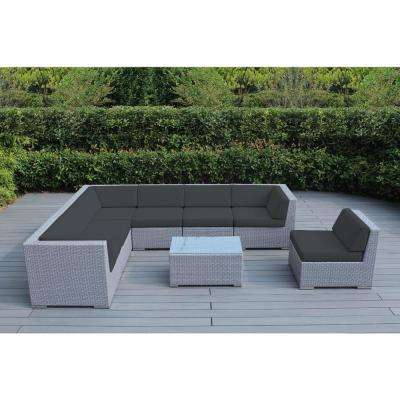 Gray 8-Piece Wicker Patio Seating Set with Sunbrella Coal Cushions