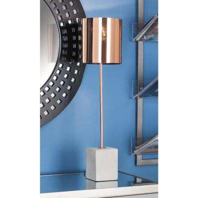 26 in. Modern Rose Gold Iron Table Lamp with Concrete Base