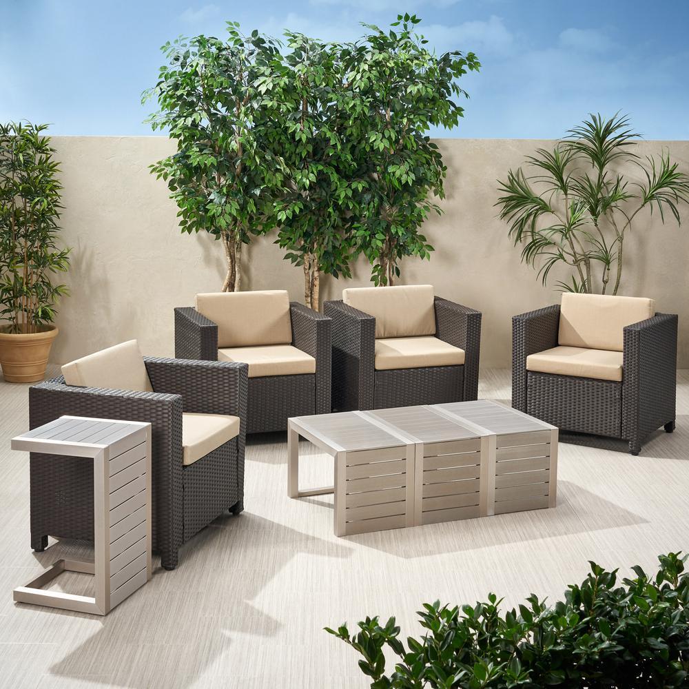 Puerta Dark Brown 8-Piece Wicker Patio Conversation Set with Beige Cushions