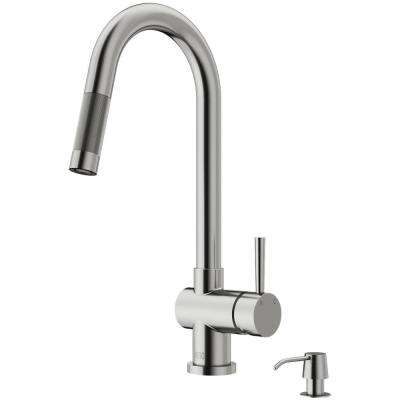 Gramercy Single-Handle Pull-Down Sprayer Kitchen Faucet with Soap Dispenser in Stainless Steel