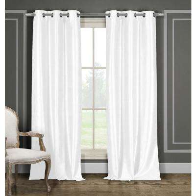 Solid White Polyester Blackout Grommet Window Curtain - 38 in. W x 84 in. L (2-Pack)