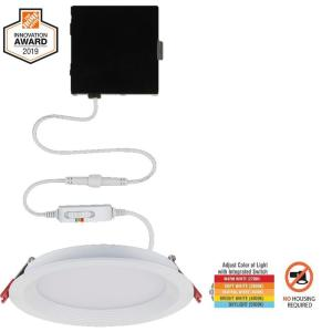 Slim Baffle 6 in. Color Selectable New Construction and Remodel Canless Recessed Integrated LED Kit