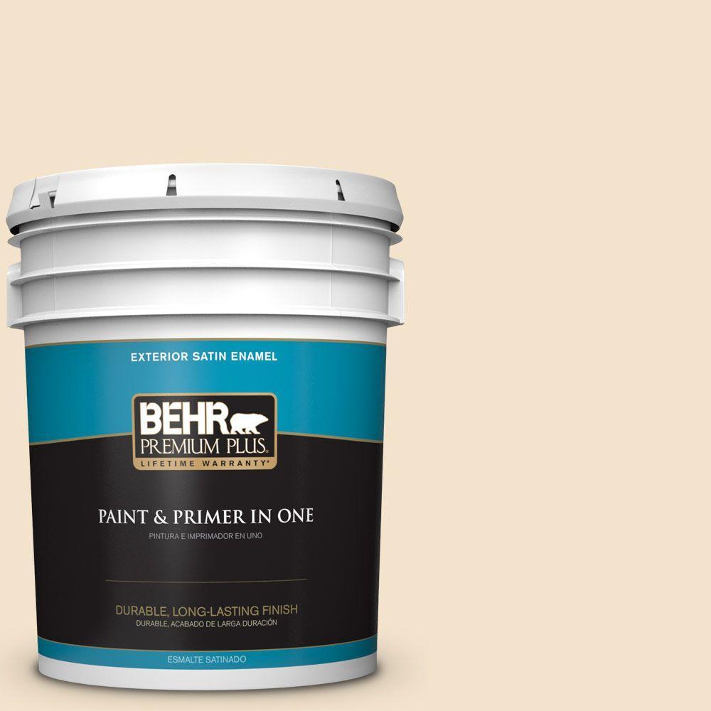 BEHR Premium Plus 5-gal. #ICC-31 Oat Flour Satin Enamel Exterior Paint
