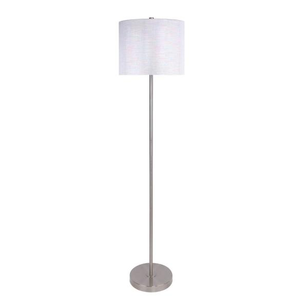 60 in. Brushed Nickel Floor Lamp with Slim-Line Design and White Sparkly Linen Shade