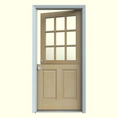 36 in. x 80 in. 9 Lite Unfinished Wood Prehung Right-Hand Inswing Dutch Front Door w/Primed AuraLast Jamb and Brickmold