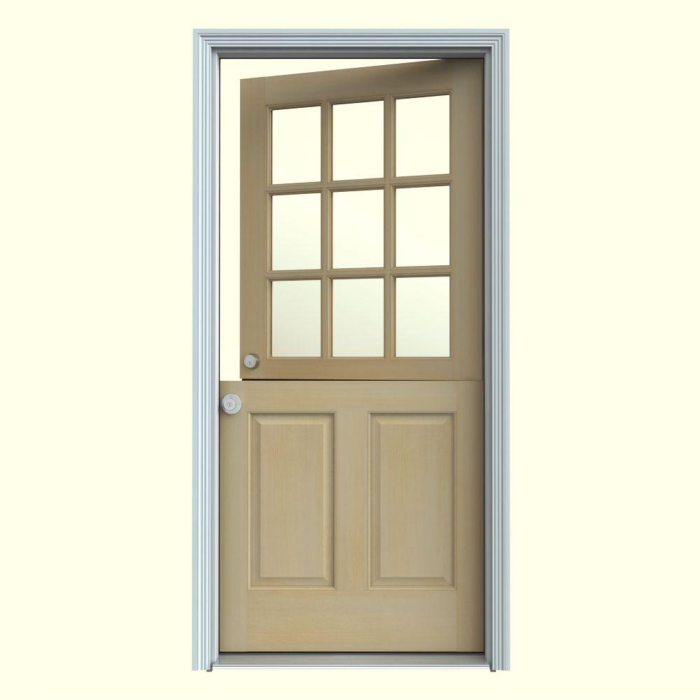 Jeld Wen 30 In X 80 In 9 Lite Unfinished Wood Prehung Right Hand Inswing Dutch Back Door W Primed Auralast Jamb And Brickmold O11093 The Home Depot