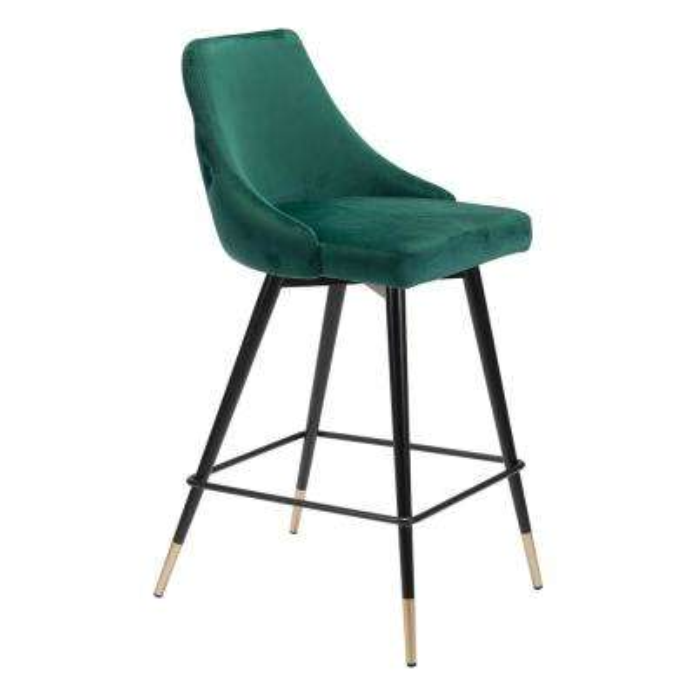 Piccolo 36.4 in. Green Velvet Counter Chair