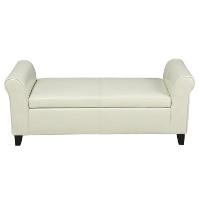 Hayes Ivory PU Leather Armed Storage Bench