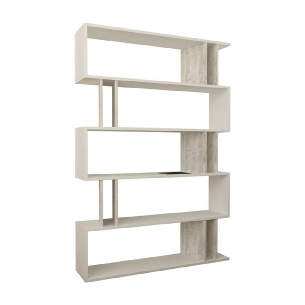 Berwyn White and Ivory Mid-Century Modern Bookcase