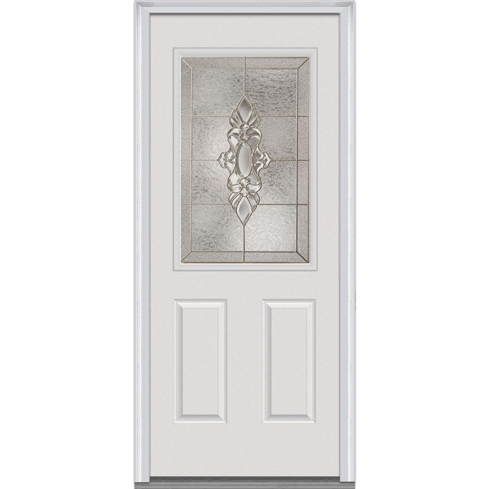 Milliken Millwork 36 in. x 80 in. Heirloom Master Decorative Glass 1/2 Lite 2-Panel Primed White Steel Prehung Front Door