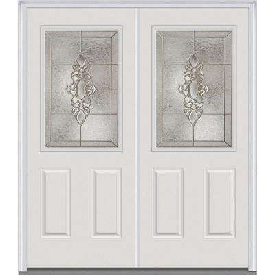 64 in. x 80 in. Heirloom Master Right-Hand Inswing 1/2-Lite Decorative Painted Fiberglass Smooth Prehung Front Door