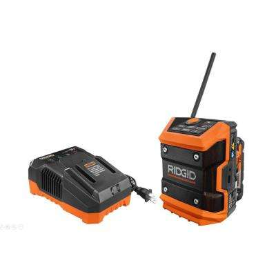 18-Volt Cordless Mini Bluetooth Radio with Radio App, 2.0 Ah Lithium-Ion Battery, and Charger