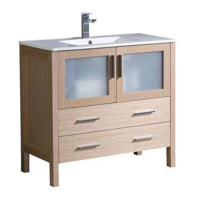 Torino 36 in. Bath Vanity in Light Oak with Ceramic Vanity Top in White with White Basin