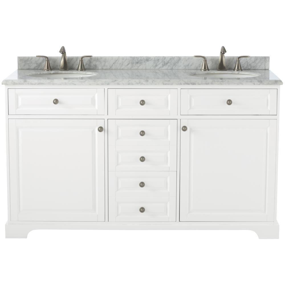 Double Bath Vanity White Natural Marble Vanity Top White