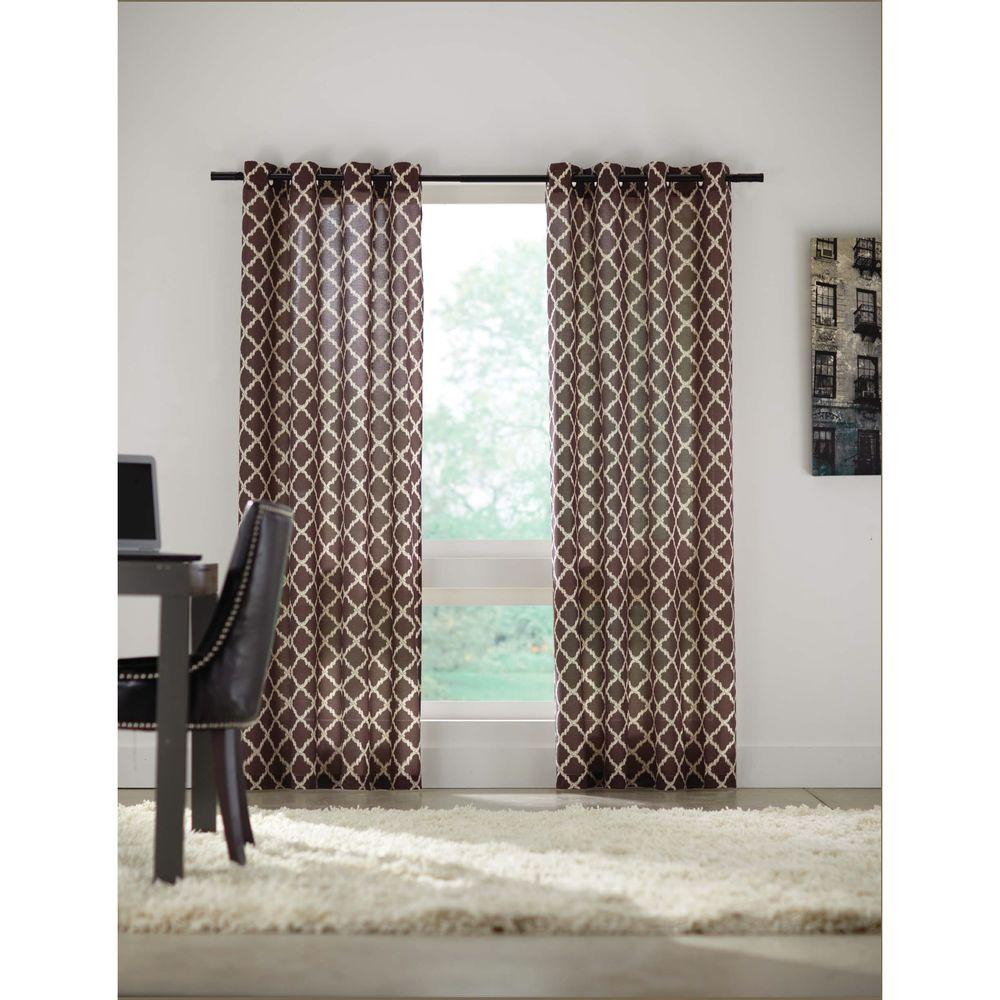Home Decorators Collection Semi-Opaque Brown Grommet Curtain - 52 in. W x 84 in. L