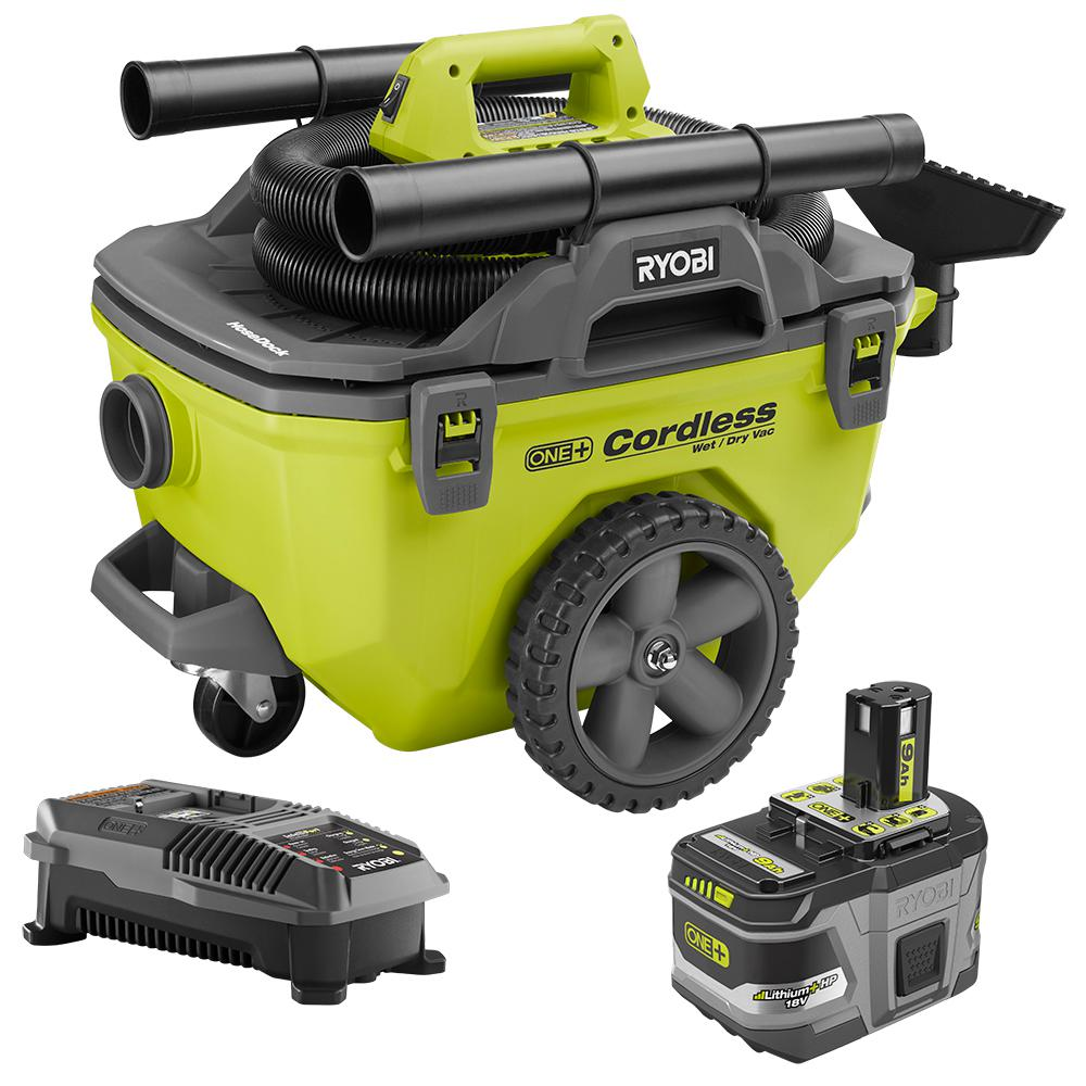 RYOBI 18-Volt ONE+ Lithium-Ion Cordless 6 Gal. Wet/Dry Vacuum Kit with (1) 9.0 Ah Battery and (1) 18-Volt Charger