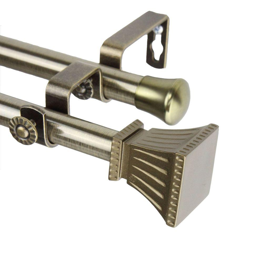 Rod Desyne 66 In 120 In Double Telescoping Curtain Rod In Antique Brass With Trumpet Finial