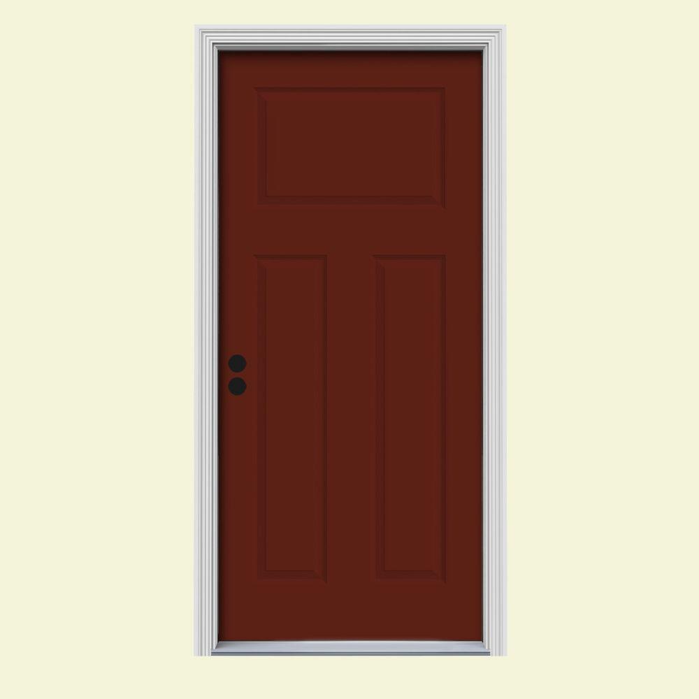 JELD-WEN 32 in. x 80 in. 3-Panel Craftsman Mesa Red Painted Steel Prehung Right-Hand Inswing Front Door w/Brickmould