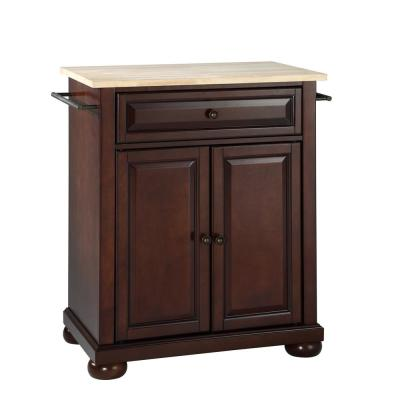 Alexandria Portable Kitchen Island with Wood Top
