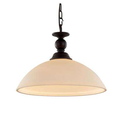1-Light Rubbed Oil Bronze Mini Pendant with Frosted Glass