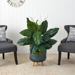 4 ft. Artificial Spathiphyllum Plant in Black Planter with Stand