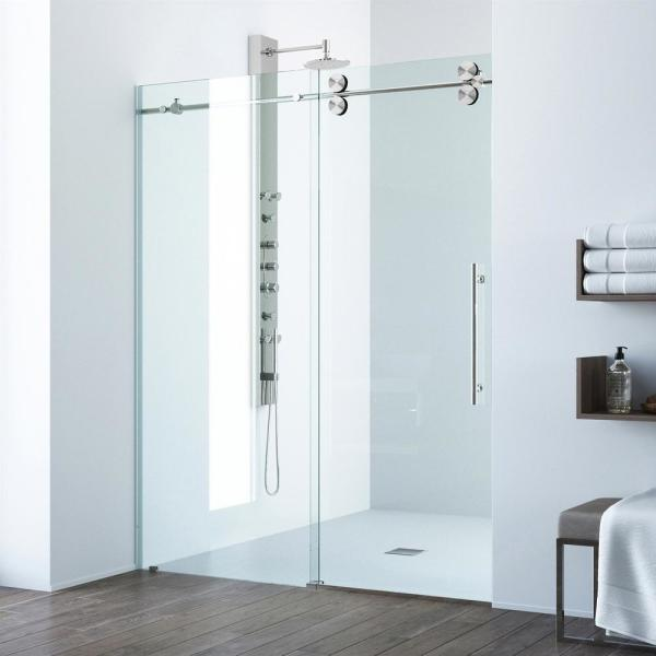 Elan 48 to 52 in. x 74 in. Frameless Sliding Shower Door in Stainless Steel with Clear Glass and Handle