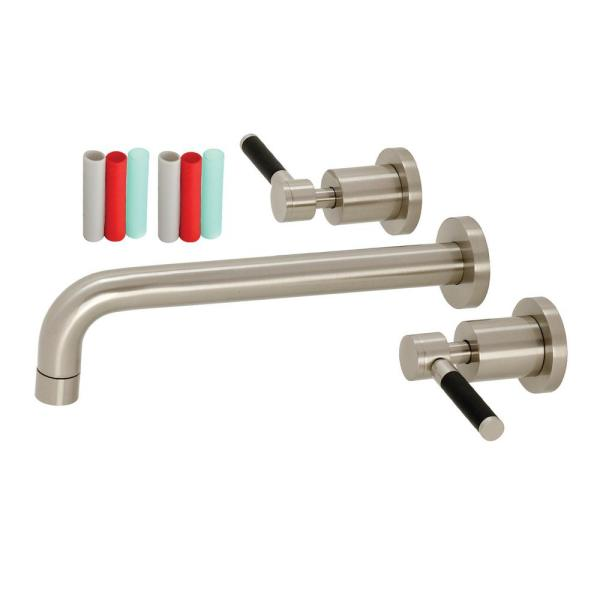 Kaiser 2-Handle Wall Mount Bathroom Faucet in Brushed Nickel