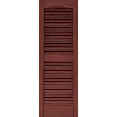 15 in. x 43 in. Louvered Vinyl Exterior Shutters Pair in #027 Burgundy Red