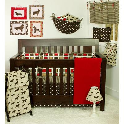 Houndstooth 8-Piece Brown and Red Contemporary Dog Print Crib Bedding Set