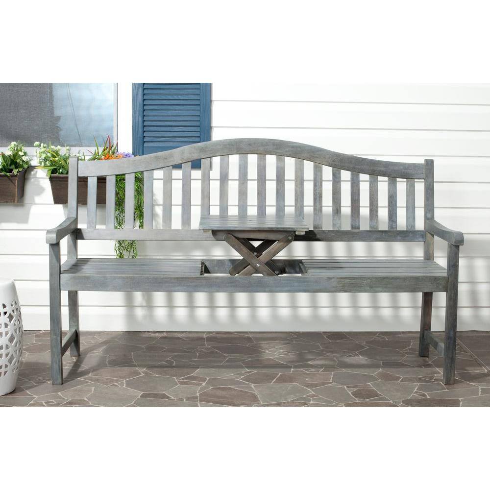 Safavieh Mischa Ash Grey Acacia Wood Patio Bench