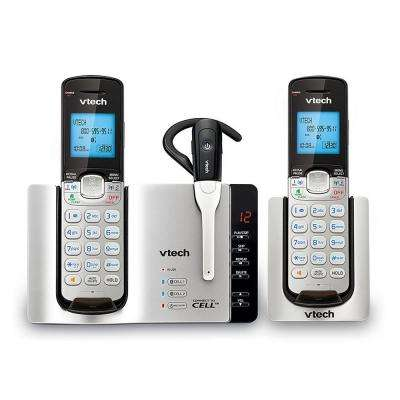 2-Handset and 1-Cordless Headset Expandable Cordless Phone with Connect to Cell and Answering System