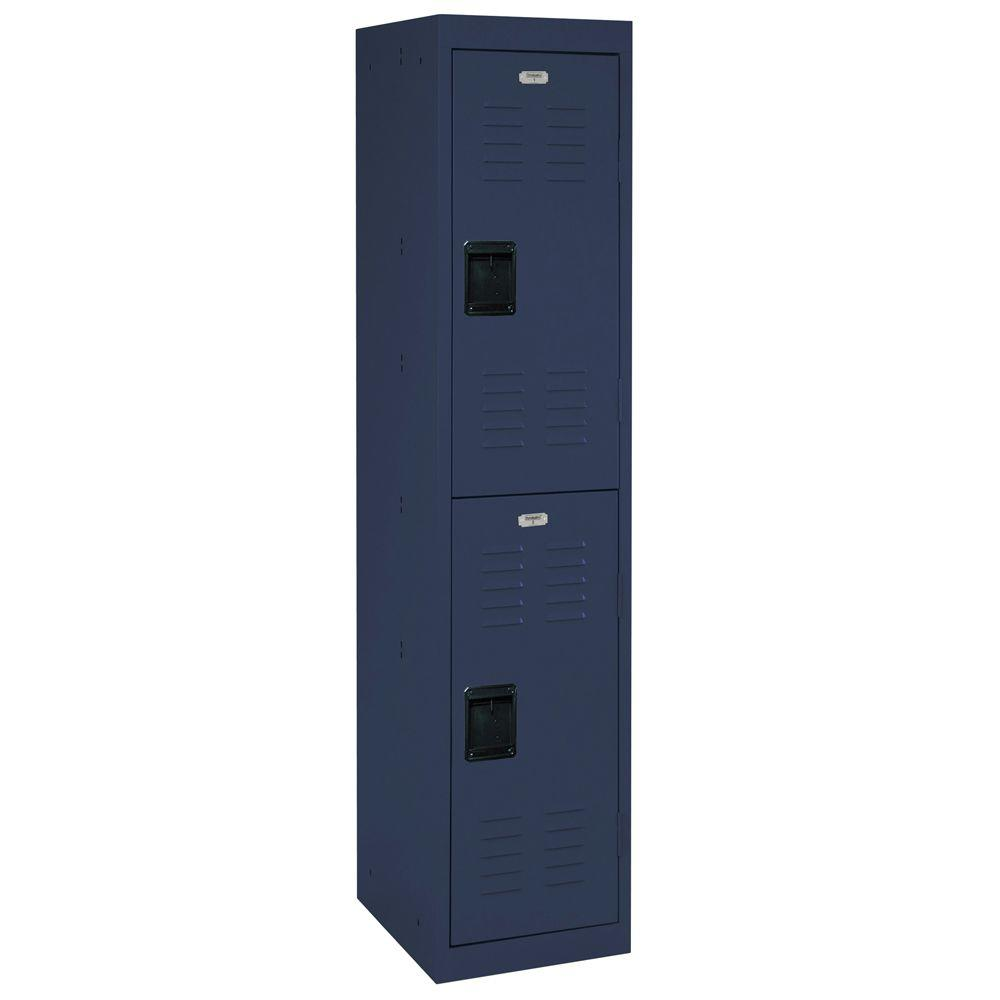 66 in. H 2-Tier Welded Steel Storage Locker in Navy Blue