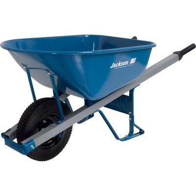 6 cu. ft. Heavy Gauge Seamless Steel Wheelbarrow with Steel Handles