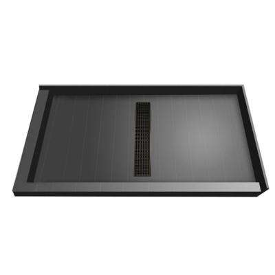 36 in. x 48 in. Double Threshold Shower Base in Gray with Center Drain and Oil Rubbed Bronze Trench Grate