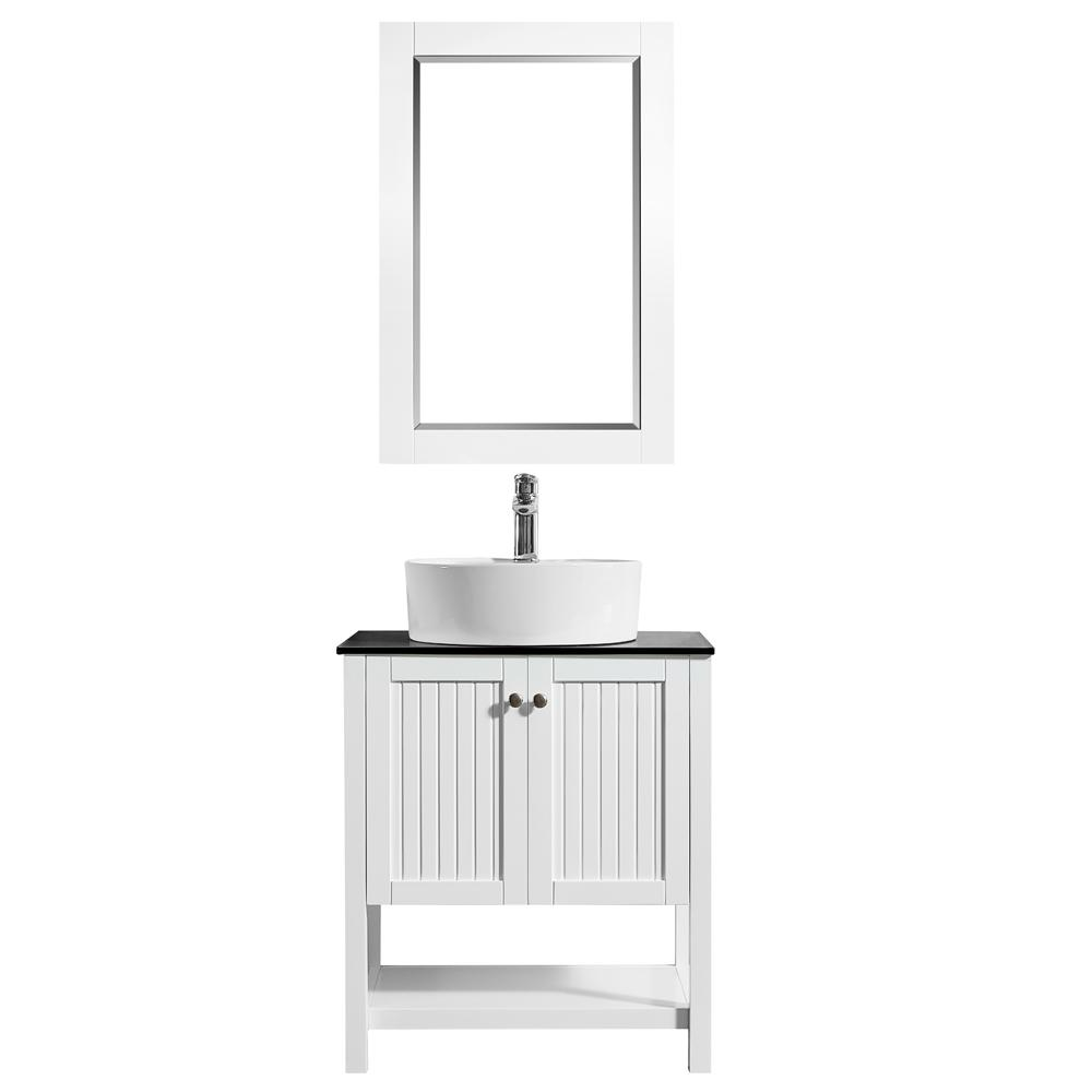 ROSWELL Modena 28 in. W x 18 in. D Vanity in White with Glass Vanity Top in Black with White Basin and Mirror