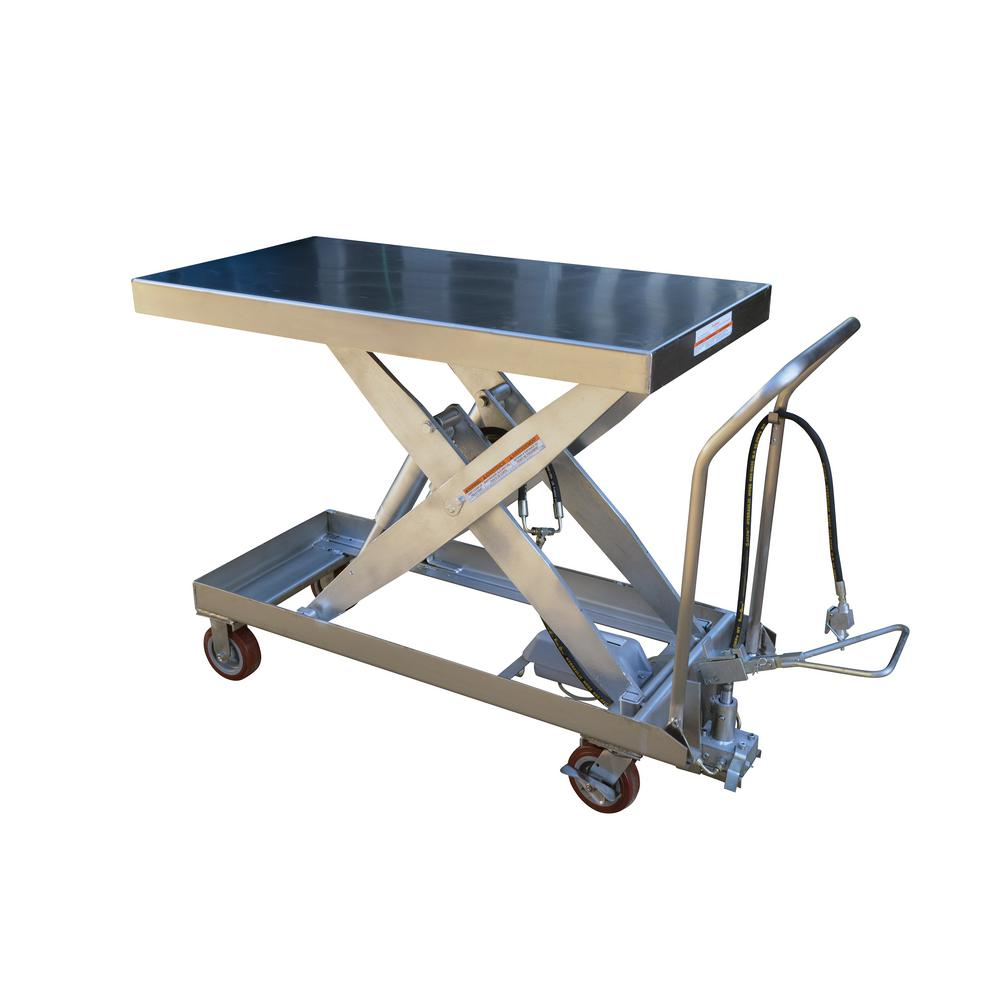 1,750 lb. 20 x 39.5 in. Hydraulic Steel Cart Partial Stainless