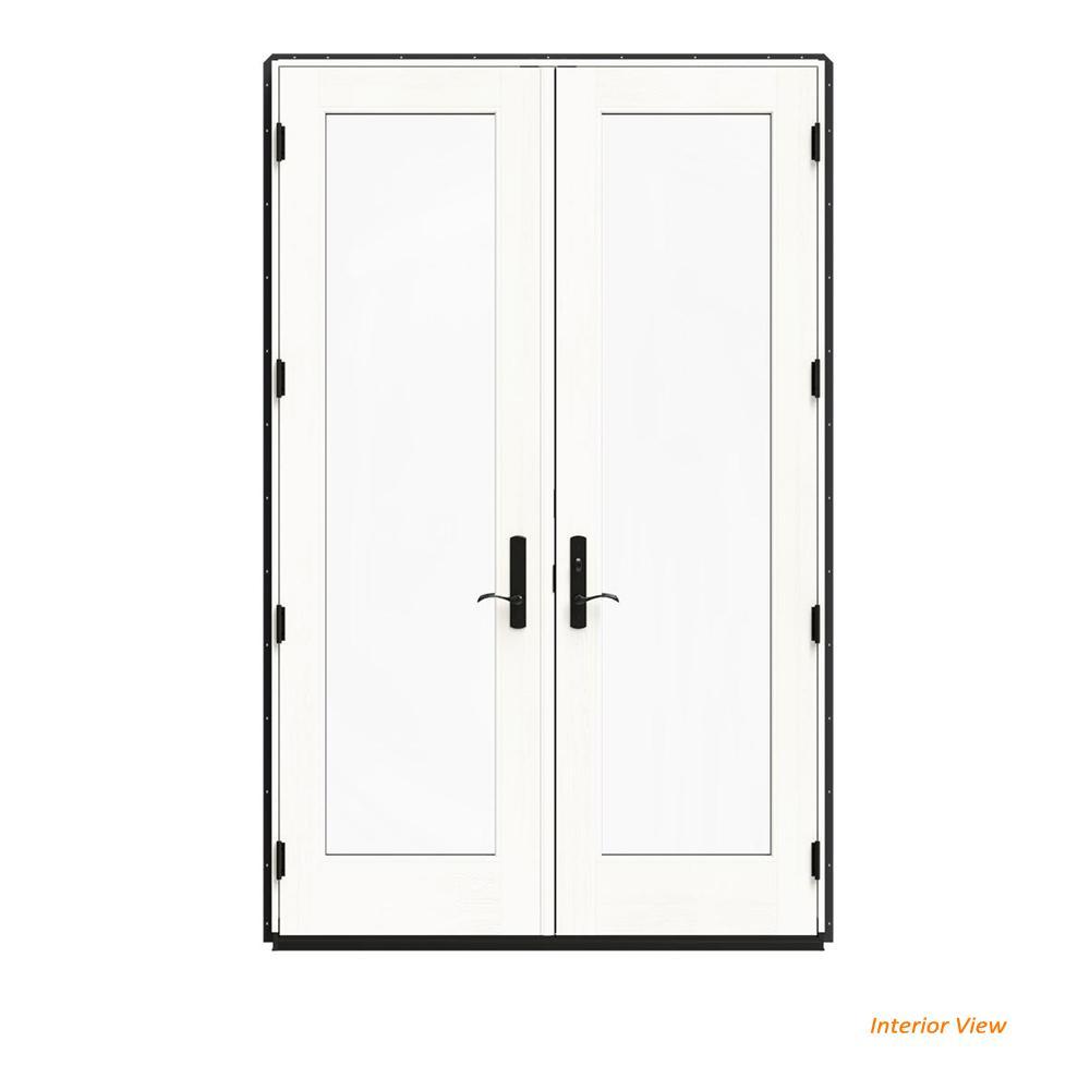 60 in. x 96 in. W-4500 Bronze Clad Wood Left-Hand Full Lite French Patio Door w/White Paint Interior
