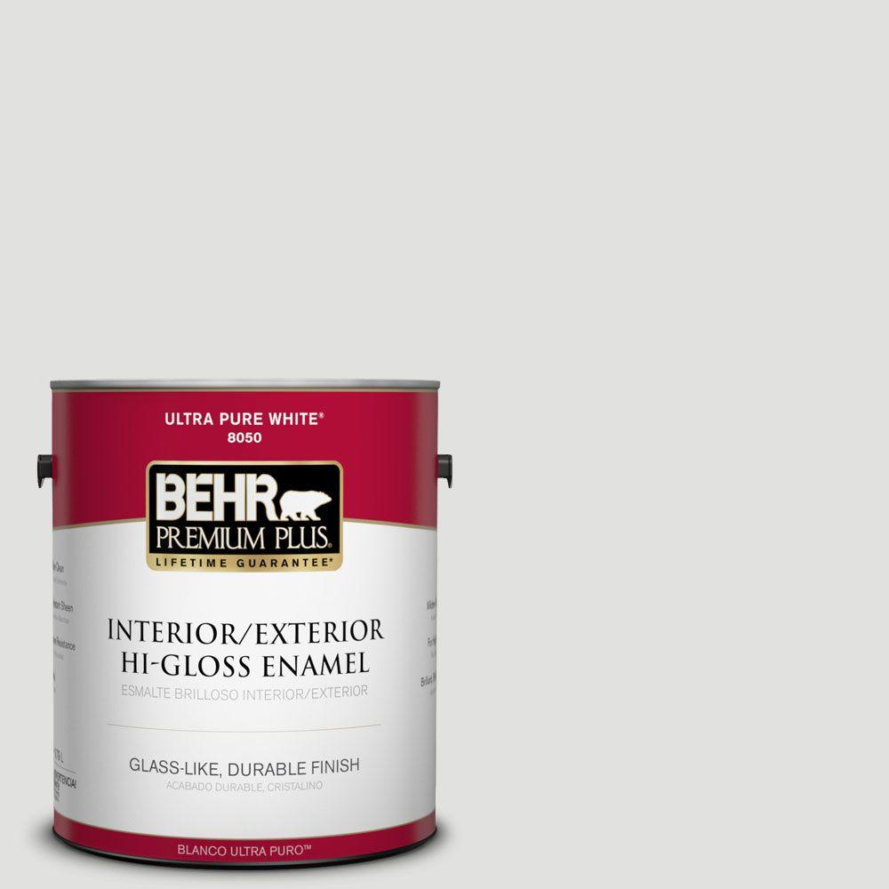 BEHR Premium Plus 1-gal. #BL-W13 Silver Polish Hi-Gloss Enamel Interior/Exterior Paint