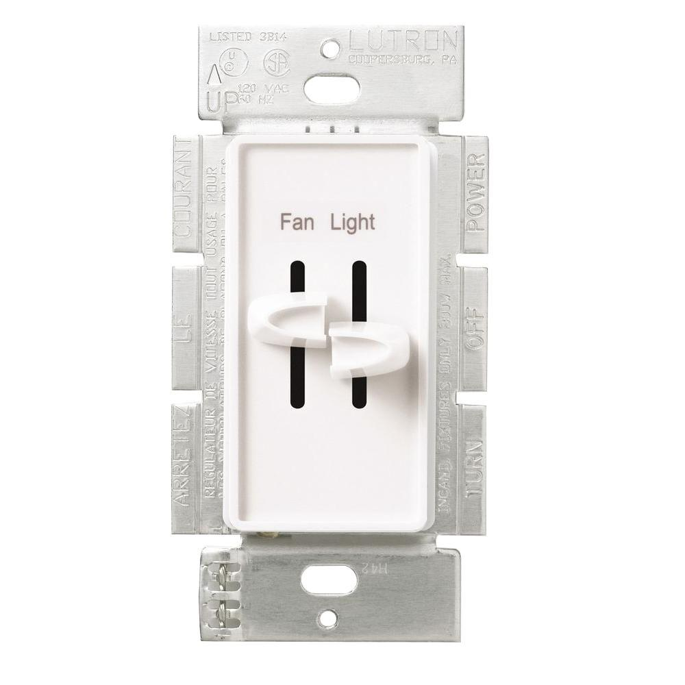 Lutron Skylark 1.5 Amp Single-Pole 3-Speed Combination Fan and Light Control, White