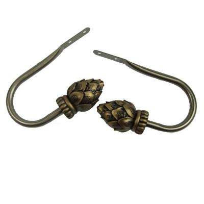Bud Decorative Holdback Pair in Antique Brass