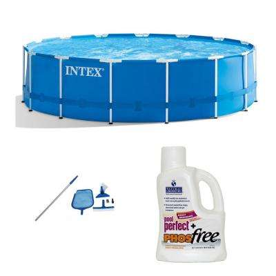 15 ft. Round x 48 in. D Metal Frame Rectangle Pool Set and Cleaning Kit Plus Natural Chemistry Perfect Plus PHOSfree