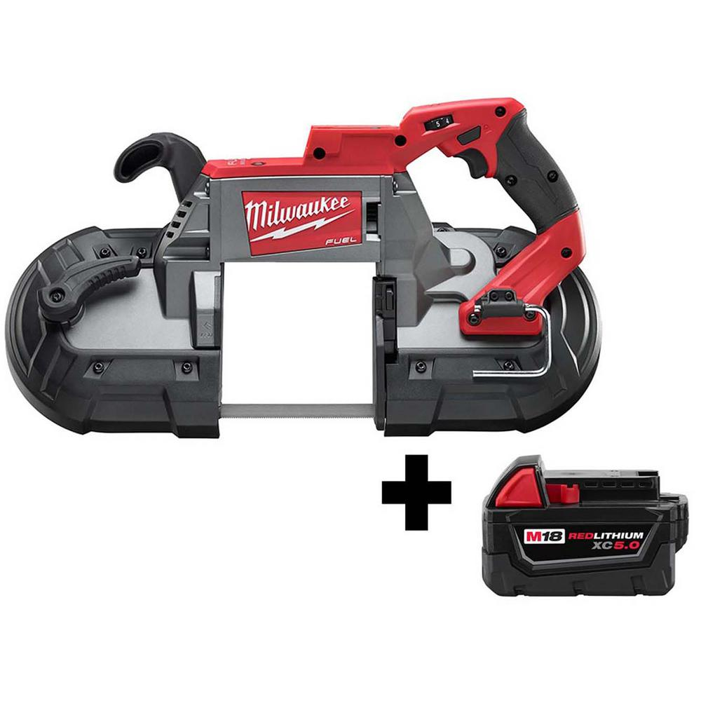 Milwaukee M18 FUEL 18-Volt Lithium-Ion Brushless Cordless Deep Cut Band Saw w/ Free M18 5.0Ah Battery