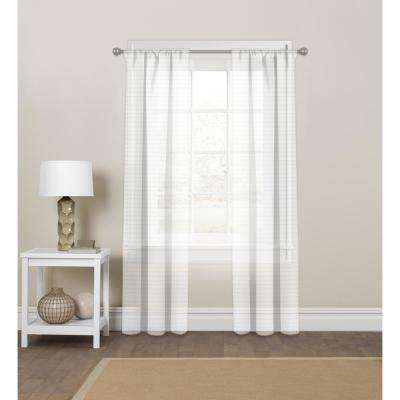 "Pinstripe Sheer White Rod Pocket Curtain Panel 60"" W x 84"" L"