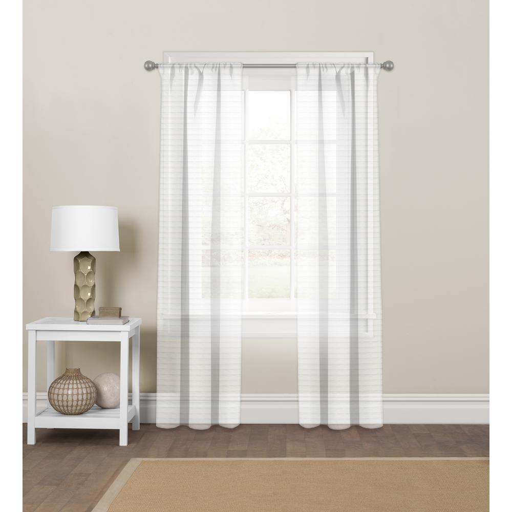 Pinstripe Sheer White Rod Pocket Curtain Panel 60'' W x 84'' L