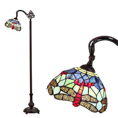 Dragonfly Tiffany-Style 60 in. Arched Bronze Floor Lamp