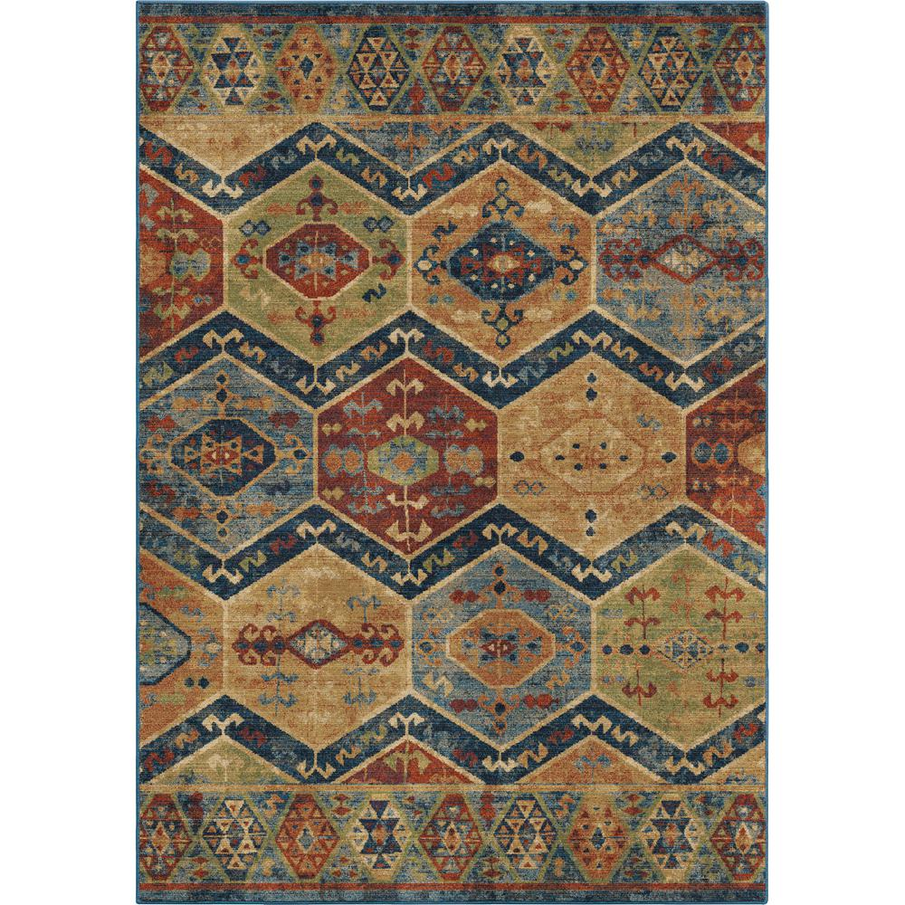 Orian rugs scrolling geos geometric blue 7 ft 10 in x 10 for Geometric print area rugs