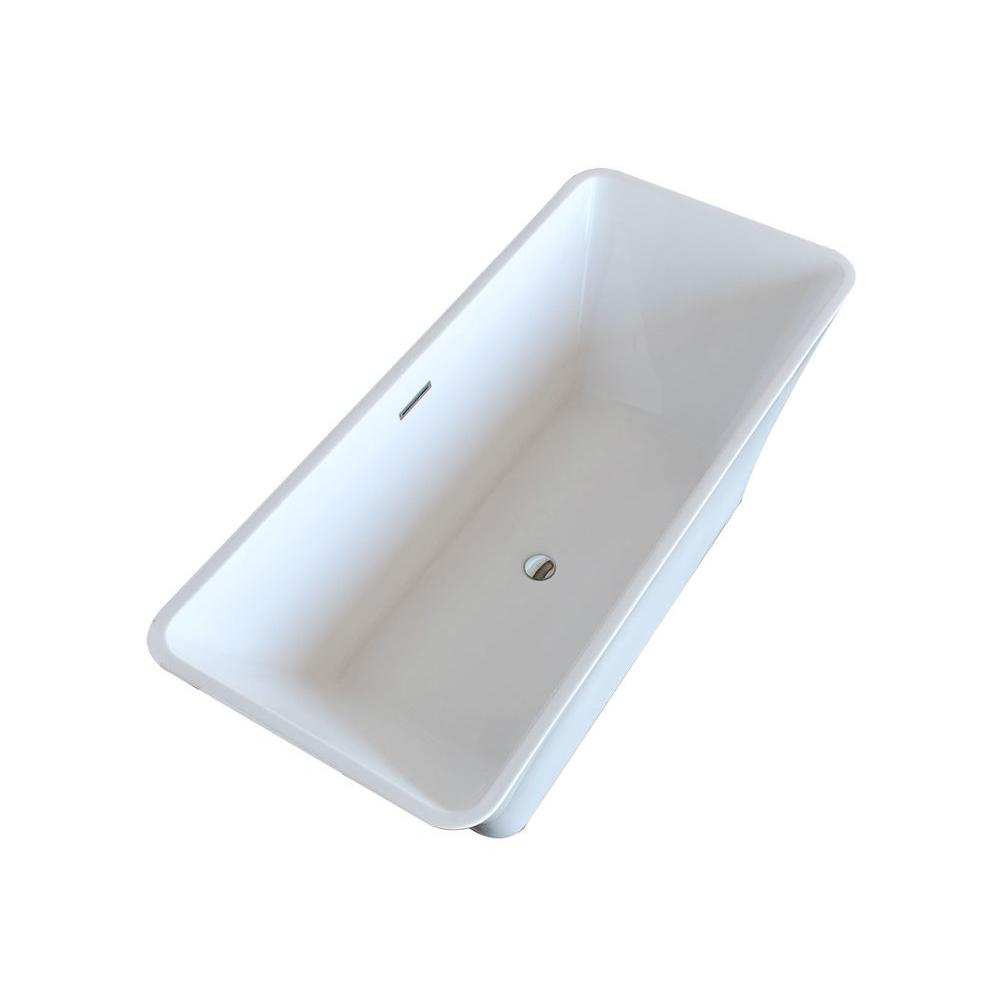 Arden 5.5 ft. Acrylic Center Drain Freestanding Bathtub in Glossy White