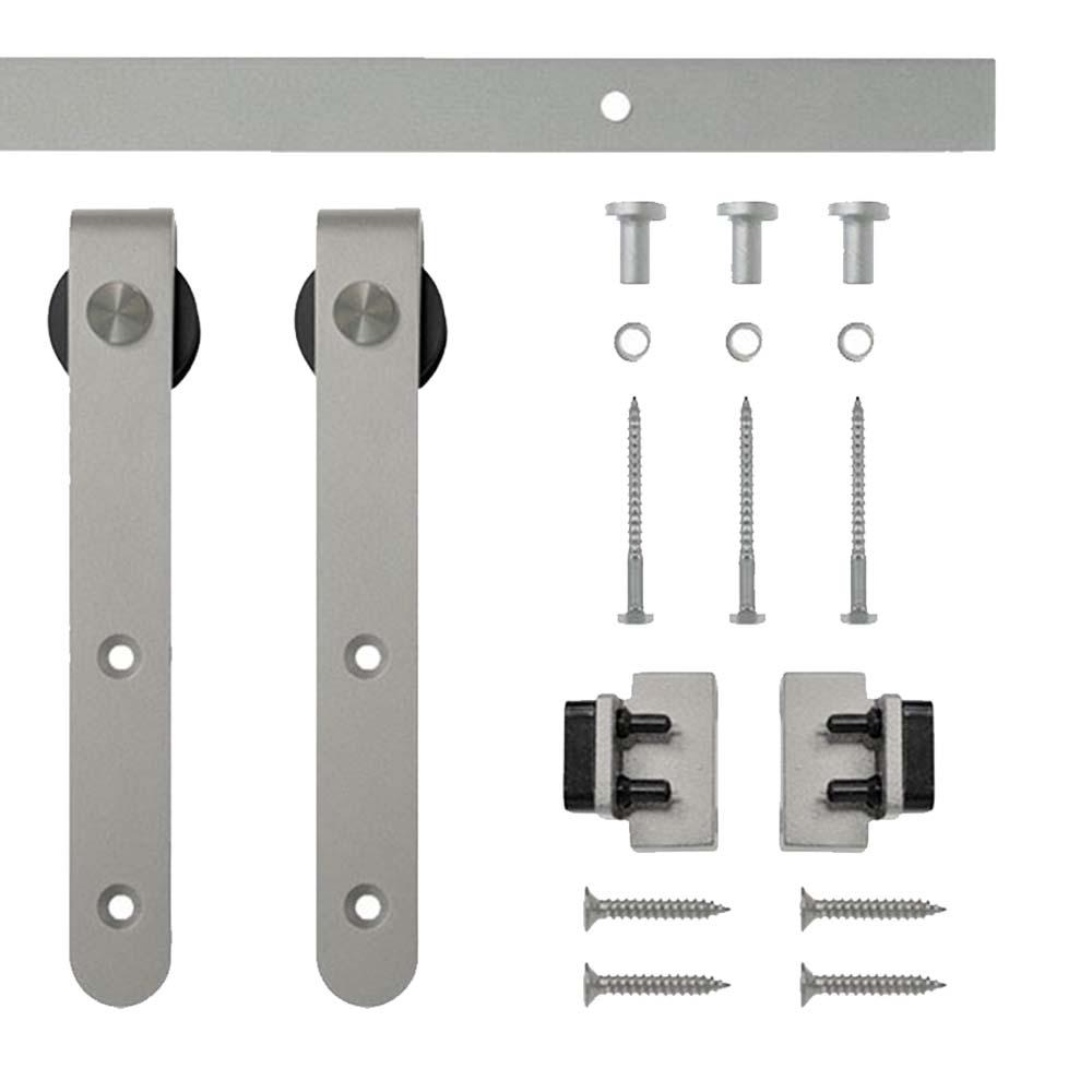 Satin Nickel Round Hook Rolling Single Furniture Door Kit With  Rail NT.1310.01SN 48   The Home Depot